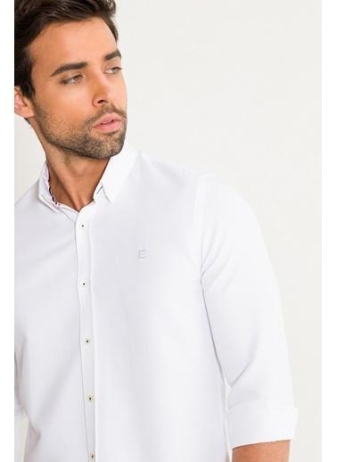 Avva Erkek  Armürlü Alttan Britli Slim Gömlek A01S2280 Beyaz